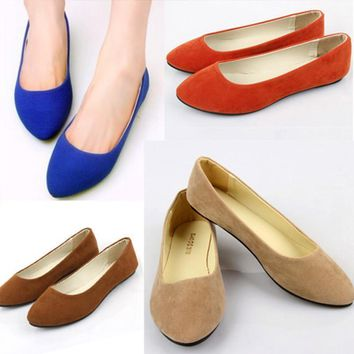 Women Slip On Suede Pumps In Solid Colors