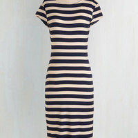 Nautical Long Short Sleeves Sheath Stripe a Pose Dress