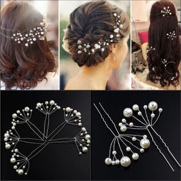 2pcs Fashion New Wedding Bridal Bridesmaid Pearls Hair Pins Clips Comb  (Size: 9.5cm by 5.5cm, Color: White) [7983585095]