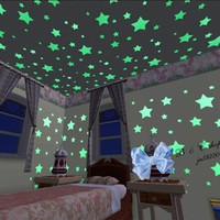 100pcs Glow In The Dark Stars Luminous Plastic Wall Stickers Decal for Kids Baby Room Glowing Sticker for House Home Decorations