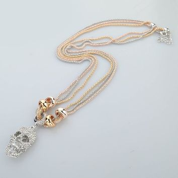 New Fashion Jewelry Multicolor Chain Full Austrian Crystal Skull Pendant Necklace