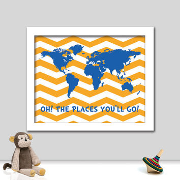 Dr. Seuss Print - Oh the Places You'll Go - Nursery Art - Children Room Art - Playroom