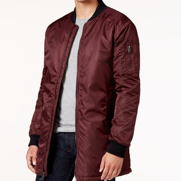 GUESS Men's Liam Satin Long Bomber Jacket