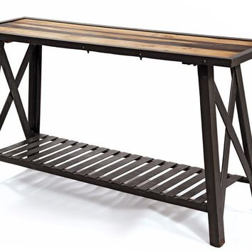 St. Charles Steel and Reclaimed Wood Console Table