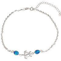 "925 Silver Rhodium Hawaiian Honu Sea Turtle CZ Blue Opal Link Chain Anklet 9""+"