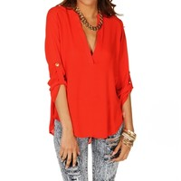 Tomato Red Marilyn 34 Sleeve Top