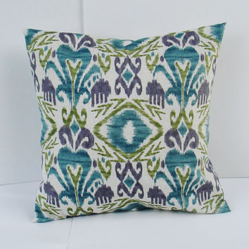 "Decorative Pillow Cover- --Throw Pillow--Ikat- 18 x 18 "" blue, grey, olive, natural, purple"