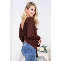 Back Twist Chocolate Knot Top