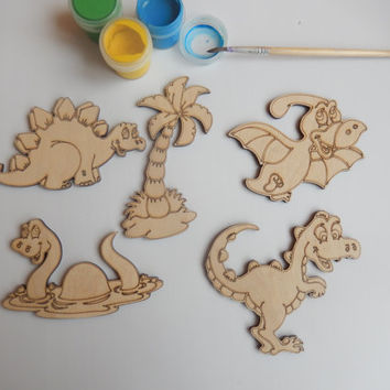 5 Wooden Dinosaurs Cutouts for Kids and Adult Coloring.Wooden Shapes.Easy Craft Supplies.Fun and Easy Kids Crafts.Dinosaur Kids Craft-001