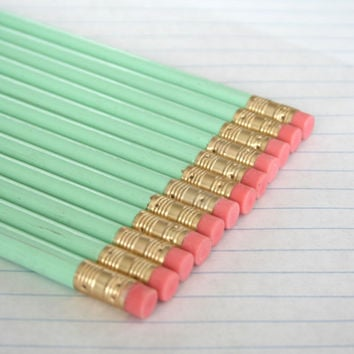40 imperfect pastel mint green pencils. back to school supplies