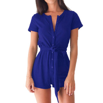 Sexy Casual Women Playsuits Rompers Short Sleeve Buttons Girls Playsuits Overalls with Belts Women's Clothing Plus Size GV540