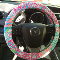 Steering Wheel Cover made with Lilly Pulitzer's Let's Cha Cha fabric