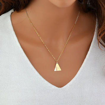 SALE Gold Triangle Necklace, Personalized Necklace, Geometric Jewelry, Triangle Gold Necklace, Initial Necklace Gold, Silver, Rose Gold