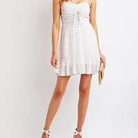 Striped Tie Front Skater Dress | Charlotte Russe