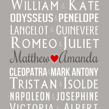 Famous Couples and Royal Couples - 8x10 Custom Name Art Print, Wedding or Anniversary Gift, Engagement, History, Cleopatra, Princess Wedding