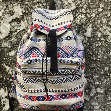 Boho Ethnic Backpack Festival Travel bag Hippies Aztec Ikat print Styles Hipster Native Southwestern Pattern for School men women Red white