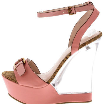 CATALINA PINK CLEAR LUCITE WEDGE