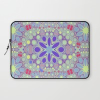 Hippy Circles And Flowers Laptop Sleeve by ALLY COXON