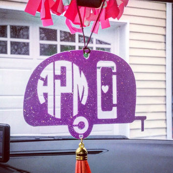 Rear View Mirror, Car Accessorie, Monogrammed, Personalized, Camper, Tassel, Charm, Monogram Accessories,Vagabond,Camping