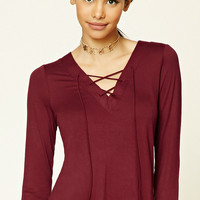 Lace-Up V-Neck Top