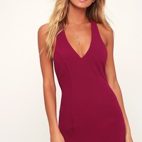 Shaken Not Stirred Magenta Sleeveless Bodycon Dress