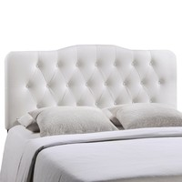 Annabel Queen Upholstered Vinyl Headboard White MOD-5155-WHI