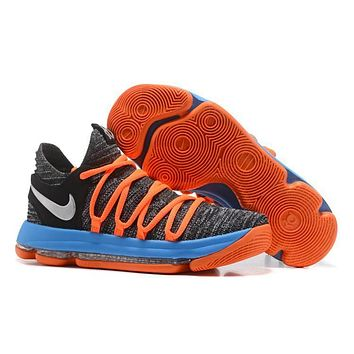 Nike Mens Kevin Durant Kd 10 Black/orange/blue Basketball Shoes | Best Deal Online
