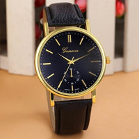 Women's Fashion Casual Analog Geneva Leather Quartz Wrist Watch = 1956382660