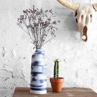 Faded Dye-Stripe Vase- Blue One