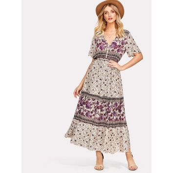 Flower Print Flutter Sleeve Dress