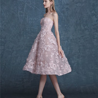 Fashion Pink Short Cocktail Dresses 2017 Handmade 3D Lace Appliques Beaded Party Dress A-line Strapless Tulle Prom Gowns WDZ-102