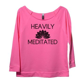 Heavily Meditated Womens 3/4 Long Sleeve Vintage Raw Edge Shirt