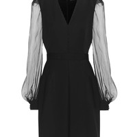 Virgin wool dress with silk sleeves