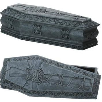 Gargoyle Coffin Desktop Trinket Box Halloween Decor