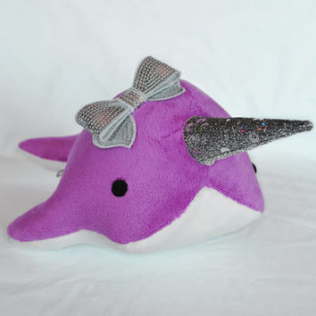 Narwhal Plush w/ Bow - Sparkle Tooth -  Medium - MADE TO ORDER (Choose Colors)