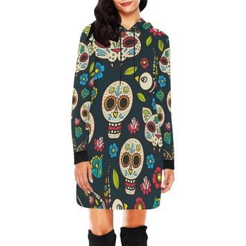 Day Of The Dead Holiday Skulls Short Mini Hoodie Dress