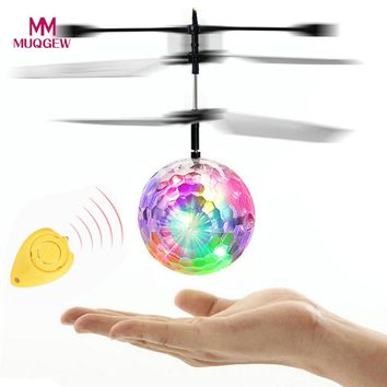 Induction Flying RC Electric Ball LED Flashing Light Toys Remote Control Aircraft RC Helicopter Flying Quadcopter Drone Kids Toy