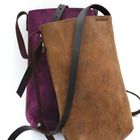 Oiled leather handbag. Rustic leather mini tote bag. Old brown leather bag. Bags and purses. LB001