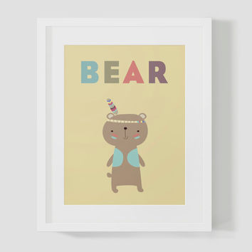 Colorful Learning Bear Animal Wall Art 8x10 16x20 Typography Poster Print