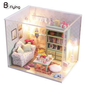2016 DIY Wood Doll House Mini Furniture Kit Set Baby Toys Doll House Miniature With LED Furniture Cover Girls Birthday Gift