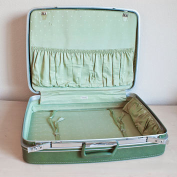 Samsonite Fashionaire Large Forest Green Suitcase with Mint Polk 555f315f0794a