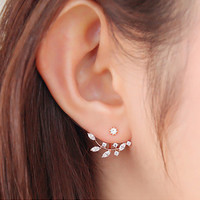 Hot Crystal Leaf Ear Jacket Earrings Gold Plated Back Cuff Stud Earrings for Women Statement Jewelry Ear Studs Free shipping