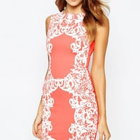 Pink Lace Patchwork Sleeveless Mini Dress