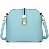 Simple Candy Color and Zipper Design Women's Crossbody Bag