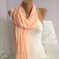 Peach Pink Shawl - Fringed - Shawl Wrap - Lace Scarf Shawl - Long Infinity Scarf - Wedding Shawl