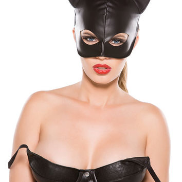 Faux Leather Cat Mask Black O-s