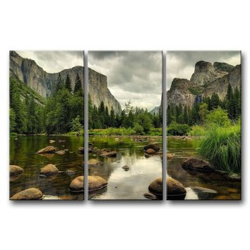 Yosemite Mountain Stream 3-Piece Wall Art Framed Print on Canvas