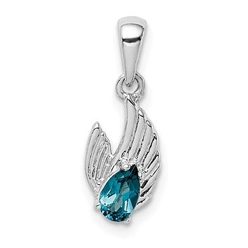 Sterling Silver London Blue Topaz Wings Pendant