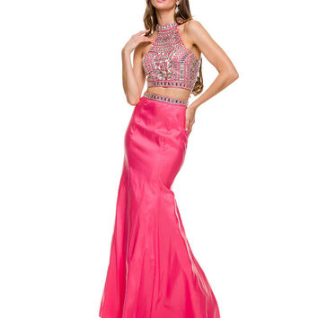 Egyptian Inspired Lenthly 2015 Prom Dress Crop Two Piece Formal Red Carpet