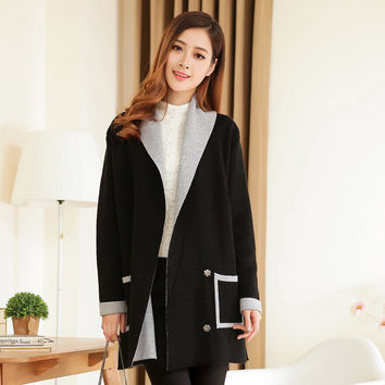 Fashion Cashmere Wool Trench Thick Turn-down Collar Elegant Warm Coats Winter Two Pockets With Belt Female Knitted Cardigan